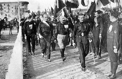 Benito Mussolini and Fascist Blackshirts during the March on Rome in 1922. March on Rome 1922 - Mussolini.jpg