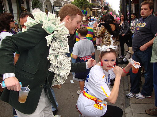 Mardi Gras Money Dance on Royal Street