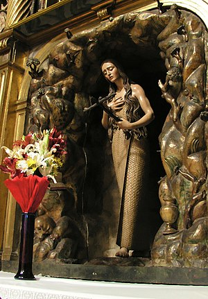 Cilice - Mary Magdalene in cilice. Polychrome wood carving by Pedro de Mena, Church of San Miguel and San Julian, Valladolid