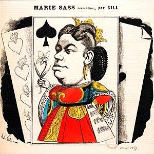 Marie Sasse - Cartoon of Marie Sasseas Elisabeth in Don Carlos