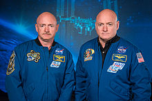 Mark and Scott Kelly at the Johnson Space Center, Houston Texas.jpg
