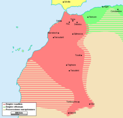 Extent of the Saadian empire during the reign of Ahmad al-Mansur[1]