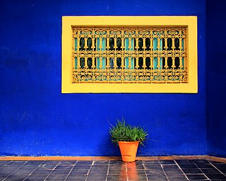 Majorelle Garden - An example of Majorelle Blue from the house in the garden