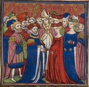 House of Valois-Burgundy - Marriage of Philip the Bold and Margaret of Flanders, Chroniques de France, late 14th century