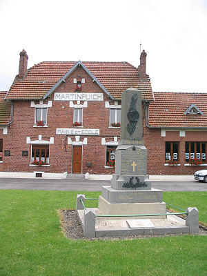 Martinpuich - The town hall, school and monument to the dead of Martinpuich