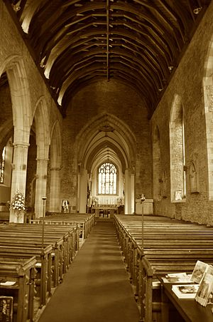 Priory Church of St Mary, Abergavenny - The nave, looking east.
