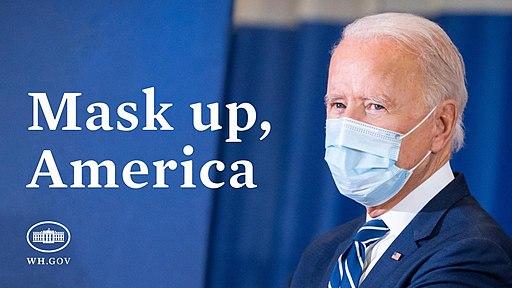 White House mask mandate image featuring Joe Biden wearing a mask. Public Domain.