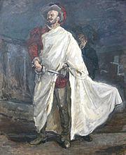 Don Giovanni face au Commandeur, avec Léporello qui se cache derrière lui (portrait du chanteur Francisco d'Andrade par Max Slevogt)