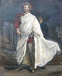 Don Juan with his sword in Don Giovanni, by Mozart
