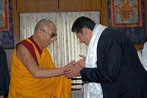 Maxime Chaya - Chaya visiting the 14th Dalai Lama in Dharamsala-India where he offered His Holiness a signed copy of his book Steep Dreams.