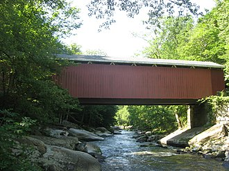 National Register of Historic Places listings in Lawrence County, Pennsylvania - Image: Mc Connell's Mill Covered Bridge northern side in sunlight