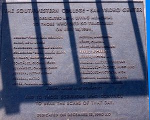 San Ysidro McDonald's massacre - Plaque at the victims' memorial, inscribed with the names of the 21 dead