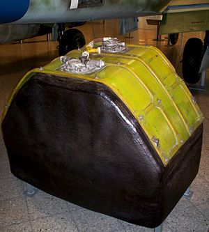 Aircraft fuel tanks - Self-sealing fuel tank of a Messerschmitt Me 262 on display at the Deutsches Museum, Munich
