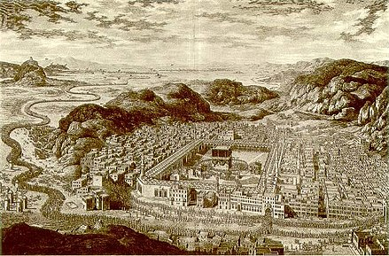 Mecca in 1850, during the Ottoman period - Masjid al-Haram