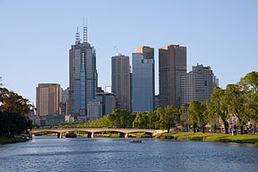 Melbourne as seen from the south-east side along the Yarra River, home of many rowers and active crews