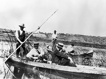 Members of the Malaria Commission of the League of Nations collecting larvae on the Danube delta, 1929 Members of the Malaria Commission on the Danube delta, 1929 Wellcome L0011626.jpg