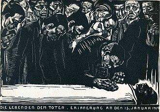 Karl Liebknecht - Memorial for Karl Liebknecht by Käthe Kollwitz (1919)