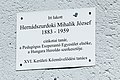 Memorial plaque of József Mihalik, Esperantist in Sashalom.jpg