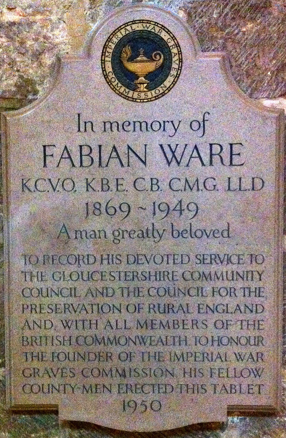 Memorial to Fabian Ware in Gloucester Cathedral