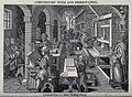 Men working at a printing press, proofing copy, inking, and Wellcome V0023786.jpg