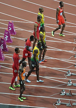 Athletics at the 2012 Summer Olympics – Men's 100 metres - Image: Mens 100m Final Prowling before the start 2012 Olympics