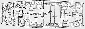 Meteor III - Meteor III schooner yacht deck plan layout as shown in The New York Times, January 4, 1902