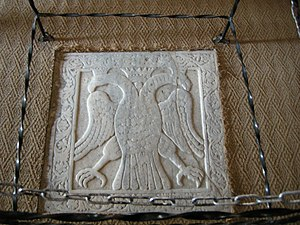 Constantine XI Palaiologos - Marble relief of a double-headed eagle in the Church of St Demetrios in Mystras, marking the spot where Constantine XI was crowned.