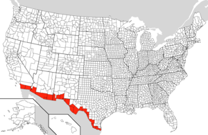 MexicoUnited States Border Wikipedia - Southern us states map borders