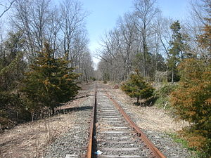 Millstone and New Brunswick Railroad - Millstone Branch at Clyde Road in April 2011, after track rehabilitation
