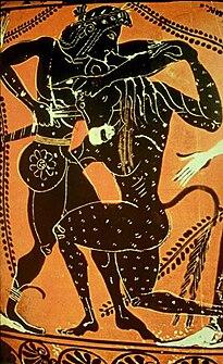 Teseo luchando con el Minotauro.