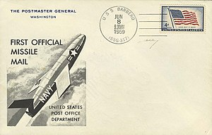 Rocket mail - USS Barbero first day commemorative cover. The return address is the Postmaster General.