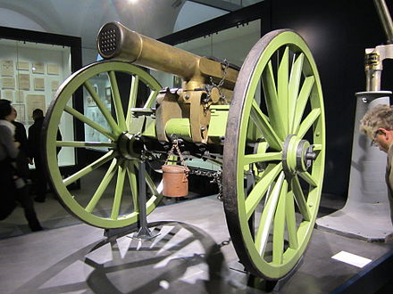 A French mitrailleuse in the Bundeswehr Military History Museum Mitrailleuse at the Militarhistorisches Museum der Bundeswehr.jpg