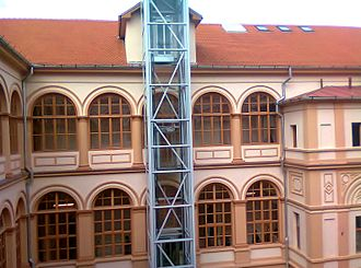 Moise Nicoară National College - Image: Moise Nicoara National College Glass elevator