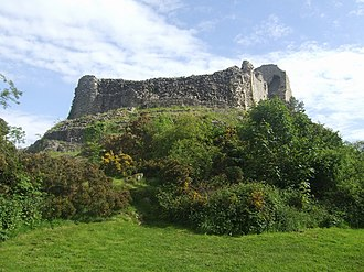 "Relief of Montgomery Castle - Montgomery Castle. Although ""slighted"" in 1648, its strength is apparent"