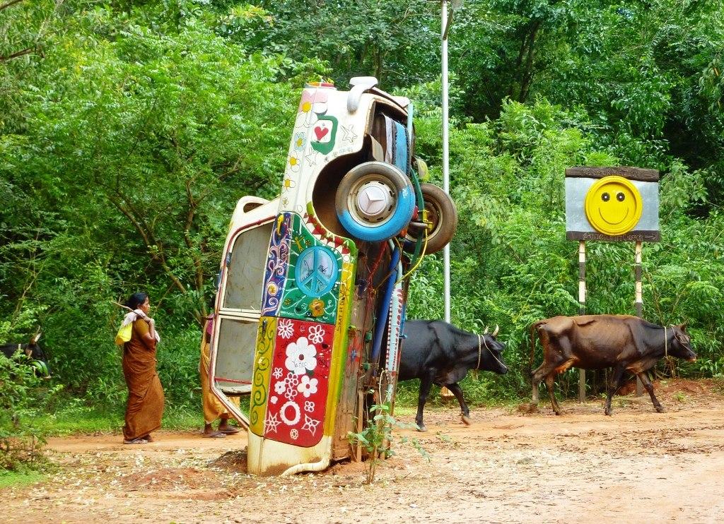 Monument to the hippie era. Tamil Nadu
