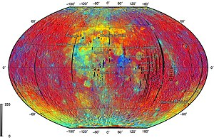 Lunar rover - Landing sites of sample return and rover missions superimposed on lithology (Clementine UVVIS). Red: old lunar highlands. Blue: young lunar highlands. Yellow: lunar maria (high titanium). Cyan: lunar maria (low titanium)