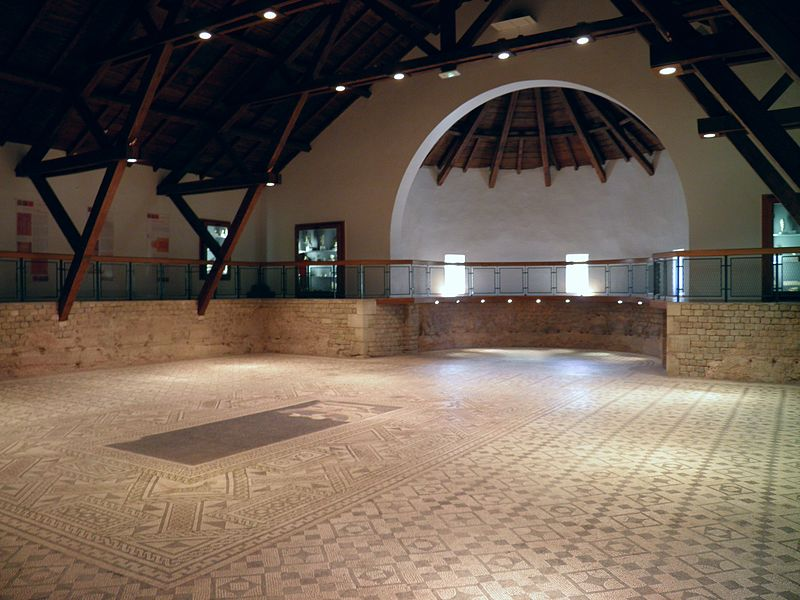 Mosaic in-situ (232 sq.m) of one of the basilica rooms, Roman Grand (Andesina), France