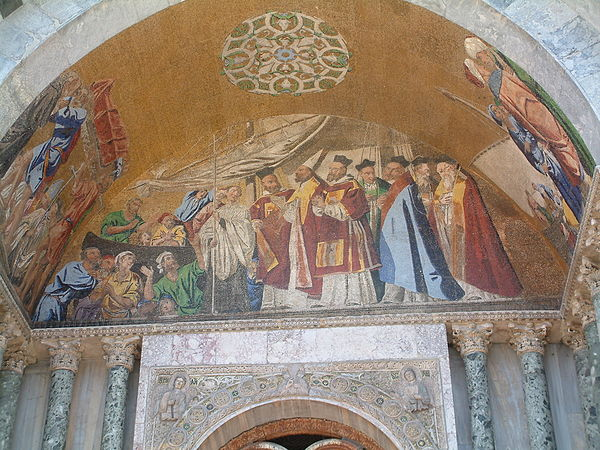 A mosaic of St Marks body welcomed into Venice, at St Mark's Basilica, Venice. Mosaics of San Marco in Venice 3.jpg