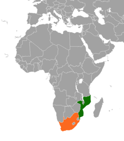 Map indicating locations of Mozambique and  South Africa