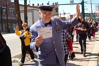 "Mister Rogers' Neighborhood - Mr. McFeely (""Speedy Delivery"") leads a group to the post office to hand-deliver their completed 2010 Census forms during the ""Count Me In In 2010 Rally"" in Homestead, PA."