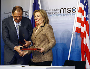 Sergey Lavrov - Lavrov with U.S. Secretary of State Hillary Clinton, Munich, Germany, on February 5, 2011