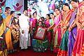 Mula VijayaReddy receiving Eminent Women awrad from Telangana Government.jpg