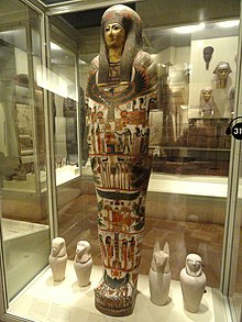 Mummy-case of Djedmaatesankh, musician, Western Thebes, Egypt, 22nd Dynasty, c. 850 BC - Royal Ontario Museum - DSC09731.JPG
