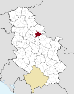 Location of Kovin within Serbia