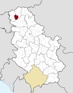 Location of the municipality of Kula within Serbia