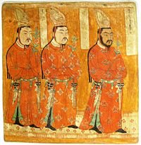 Wall painting of Uyghur Princes, from the Bezeklik caves