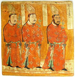 Museum of Asian Art - Uyghur Princes wearing Chinese-styled robes and headgear. Bezeklik, Cave 9, 9-12th century CE, wall painting, 62.4 x 59.5 cm.