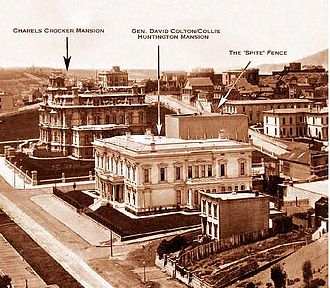 Spite fence - Portion of the April 1878 panoramic photograph of San Francisco by Eadweard Muybridge showing the spite fence constructed by Charles Crocker