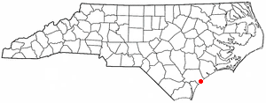Topsail Beach, North Carolina - Image: NC Map doton Topsail Beach