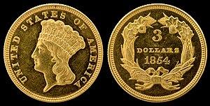 Three-dollar piece - Image: NNC US 1854 G$3 Indian Princess Head